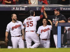 during game one of the American League Divison Series at Progressive Field on October 6, 2016 in Cleveland, Ohio.