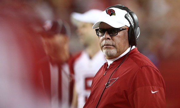 SANTA CLARA, CA - OCTOBER 06:  Head coach Bruce Arians of the Arizona Cardinals looks on from the sidelines during their NFL game against the San Francisco 49ers at Levi's Stadium on October 6, 2016 in Santa Clara, California.  (Photo by Ezra Shaw/Getty Images)