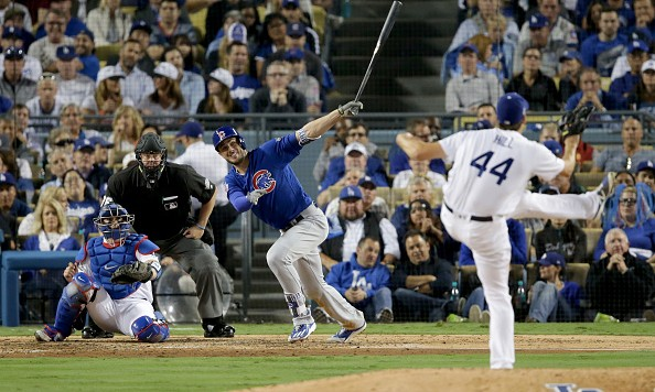 LOS ANGELES, CA - OCTOBER 18:  Kris Bryant #17 of the Chicago Cubs hits a single in the sixth inning against Rich Hill #44 of the Los Angeles Dodgers in game three of the National League Championship Series at Dodger Stadium on October 18, 2016 in Los Angeles, California.  (Photo by Jeff Gross/Getty Images)