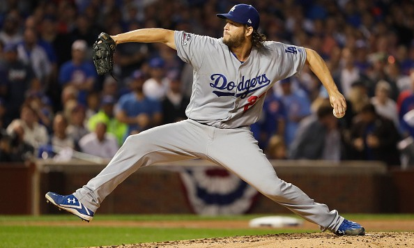 CHICAGO, IL - OCTOBER 16:  Clayton Kershaw #22 of the Los Angeles Dodgers pitches against the Chicago Cubs during game two of the National League Championship Series at Wrigley Field on October 16, 2016 in Chicago, Illinois.  (Photo by Jamie Squire/Getty Images)