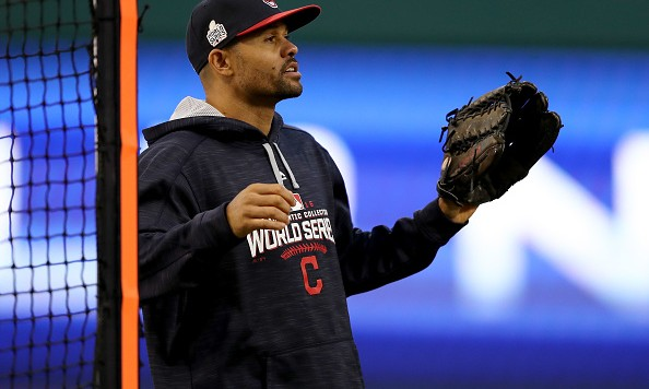 CLEVELAND, OH - OCTOBER 24:  Coco Crisp #4 of the Cleveland Indians looks on during Media Day for the 2016 World Series against the Chicago Cubs at Progressive Field on October 24, 2016 in Cleveland, Ohio.  (Photo by Elsa/Getty Images)