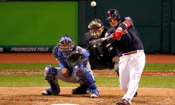 CLEVELAND, OH - OCTOBER 25:  Roberto Perez #55 of the Cleveland Indians hits a three-run home run during the eighth inning against the Chicago Cubs in Game One of the 2016 World Series at Progressive Field on October 25, 2016 in Cleveland, Ohio.  (Photo by Gregory Shamus/Getty Images)