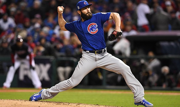 CLEVELAND, OH - OCTOBER 26:  Jake Arrieta #49 of the Chicago Cubs throws a pitch during the fifth inning against the Cleveland Indians in Game Two of the 2016 World Series at Progressive Field on October 26, 2016 in Cleveland, Ohio.  (Photo by Jason Miller/Getty Images)