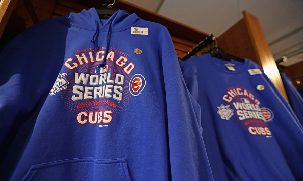 CHICAGO, IL - OCTOBER 27:  Merchandise is seen at Wrigley Field on October 27, 2016 in Chicago, Illinois. The Chicago Cubs play the Cleveland Indians in game 3 of the World Series on Friday, October 28.  (Photo by Jonathan Daniel/Getty Images)