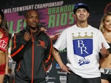 Timothy Bradley, left, and Brandon Rios pose during a weigh-in Friday, Nov. 6, 2015, in Las Vegas. The two are scheduled to face each other in a WBO welterweight title bout Saturday in Las Vegas. (AP Photo/John Locher)