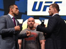 LAS VEGAS, NV - MARCH 04:  (L-R) Opponents Fabricio Werdum and Stipe Miocic face off during the UFC Unstoppable launch press conference at the MGM Grand Garden Arena on March 4, 2016 in Las Vegas, Nevada. (Photo by Josh Hedges/Zuffa LLC/Zuffa LLC via Getty Images)