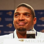 EARTH CITY, MO - MAY 13: St. Louis Rams draft pick Michael Sam addresses the media during a press conference at Rams Park on May 13, 2014 in Earth City, Missouri.  (Photo by Dilip Vishwanat/Getty Images)