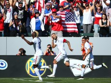 LOS ANGELES, CA - FEBRUARY 08:  Clint Dempsey #8 of the USA celebrates his goal in the first half against Panama during the international men's friendly match at StubHub Center on February 8, 2015 in Los Angeles, California.  (Photo by Victor Decolongon/Getty Images)