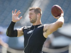 PHILADELPHIA, PA - AUGUST 16: Tim Tebow #11 of the Philadelphia Eagles warms up prior to the preseason game against the Indianapolis Colts on August 16, 2015 at Lincoln Financial Field in Philadelphia, Pennsylvania.  (Photo by Mitchell Leff/Getty Images)