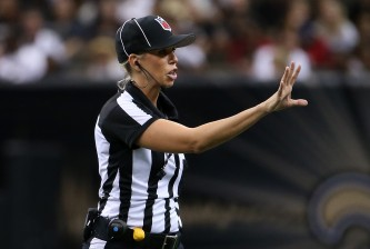 NEW ORLEANS, LA - AUGUST 30:  Line Judge Sarah Thomas in action during the game between the Houston Texans and the New Orleans Saints at the Mercedes-Benz Superdome on August 30, 2015 in New Orleans, Louisiana.  (Photo by Chris Graythen/Getty Images)