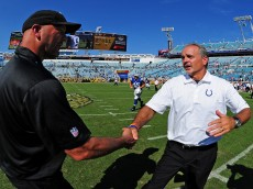 JACKSONVILLE, FL - SEPTEMBER 21: Head Coach Chuck Pagano (R) of the Indianapolis Colts is congratulated by Head Coach Gus Bradley of the Jacksonville Jaguars after the game at EverBank Field on September 21, 2014 in Jacksonville, Florida. (Photo by Scott Cunningham/Getty Images)