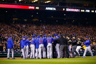 PITTSBURGH, PA - OCTOBER 07:  The Chicago Cubs and Pittsburgh Pirates benches clear after Jake Arrieta #49 of the Chicago Cubs is hit by a pitch thrown by Tony Watson #44 of the Pittsburgh Pirates in the seventh inning during the National League Wild Card game at PNC Park on October 7, 2015 in Pittsburgh, Pennsylvania.  (Photo by Jared Wickerham/Getty Images)