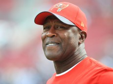 TAMPA, FL - NOVEMBER 15: Head coach Lovie Smith of the Tampa Bay Buccaneers watches pregame warmup before the game against the Dallas Cowboys at Raymond James Stadium on November 15, 2015 in Tampa, Florida. (Photo by Cliff McBride/Getty Images) *** Local Caption *** Lovie Smith