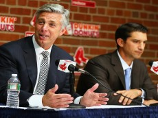 <> during a press conference before the game against the Tampa Bay Rays at Fenway Park on September 24, 2015 in Boston, Massachusetts.