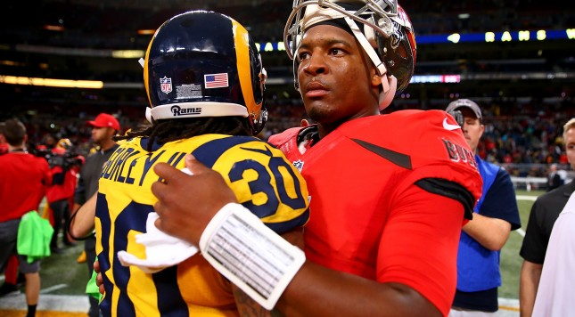 ST. LOUIS, MO - DECEMBER 17: Todd Gurley #30 of the St. Louis Rams and Jameis Winston #3 of the Tampa Bay Buccaneers congratulate each other after a game at the Edward Jones Dome on December 17, 2015 in St. Louis, Missouri. (Photo by Dilip Vishwanat/Getty Images)