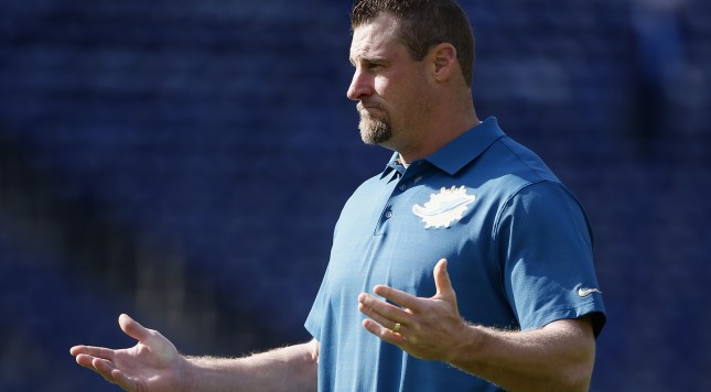 SAN DIEGO, CA - DECEMBER 20:  Head coach Dan Campbell of the Miami Dolphins stands on the field before playing the San Diego Chargers at Qualcomm Stadium on December 20, 2015 in San Diego, California.  (Photo by Todd Warshaw/Getty Images)