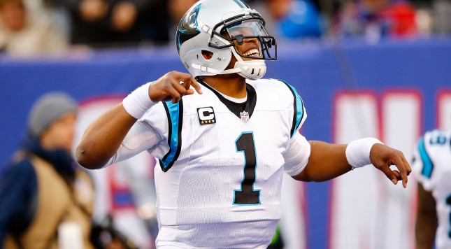 EAST RUTHERFORD, NJ - DECEMBER 20:  Cam Newton #1 of the Carolina Panthers celebrates a touchdown in the third quarter against the New York Giants during their game at MetLife Stadium on December 20, 2015 in East Rutherford, New Jersey.  (Photo by Michael Reaves/Getty Images)