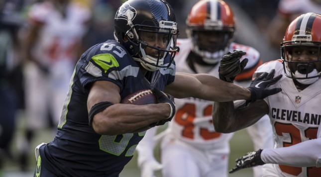 SEATTLE, WA - DECEMBER 20: Wide receiver Doug Baldwin #89 of the Seattle Seahawks runs with the ball after a reception during the second half of a football game against the Cleveland Browns at CenturyLink Field on December 20, 2015 in Seattle, Washington. The Seahawks won the game 30-13 and Baldwin had two touchdown receptions. (Photo by Stephen Brashear/Getty Images)