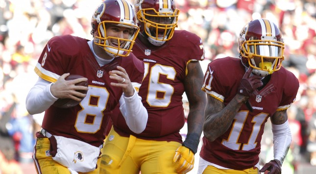 LANDOVER, MD - DECEMBER 20: Quarterback Kirk Cousins #8 of the Washington Redskins celebrates with teammates tackle Morgan Moses #76 and wide receiver DeSean Jackson #11 after scoring a second quarter touchdown against the Buffalo Bills at FedExField on December 20, 2015 in Landover, Maryland. (Photo by Matt Hazlett/Getty Images)