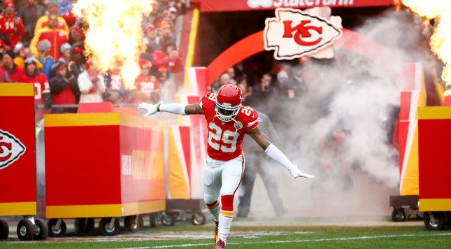 KANSAS CITY, MO - DECEMBER 27:  Eric Berry #29 of the Kansas City Chiefs enters the field at Arrowhead Stadium during pre game against the Cleveland Browns on December 27, 2015 in Kansas City, Missouri. (Photo by Jamie Squire/Getty Images)