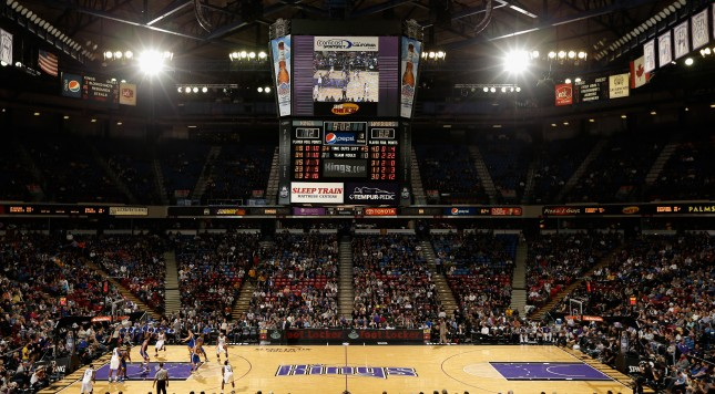 SACRAMENTO, CA - DECEMBER 19:  A general view of the Sacramento Kings playing against the Golden State Warriors at Sleep Train Arena on December 19, 2012 in Sacramento, California. NOTE TO USER: User expressly acknowledges and agrees that, by downloading and or using this photograph, User is consenting to the terms and conditions of the Getty Images License Agreement.  (Photo by Ezra Shaw/Getty Images)
