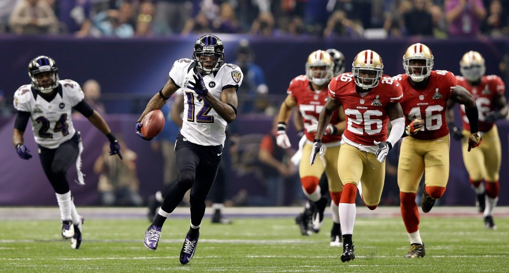 NEW ORLEANS, LA - FEBRUARY 03:  Jacoby Jones #12 of the Baltimore Ravens runs back a 108-yard kickoff return for a touchdown in the third quarter against the San Francisco 49ers during Super Bowl XLVII at the Mercedes-Benz Superdome on February 3, 2013 in New Orleans, Louisiana.  (Photo by Ezra Shaw/Getty Images)