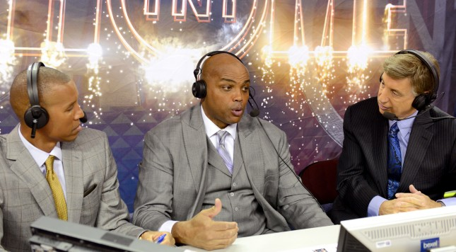 CLEVELAND, OH - OCTOBER 30: (L-R) TV analysts Reggie Miller, Charles Barkley and Marv Albert speak before a game between the Cleveland Cavaliers and the New York Knicks at Quicken Loans Arena on October 30, 2014 in Cleveland, Ohio. NOTE TO USER: User expressly acknowledges and agrees that, by downloading and or using this photograph, User is consenting to the terms and conditions of the Getty Images License Agreement.  (Photo by Jason Miller/Getty Images)
