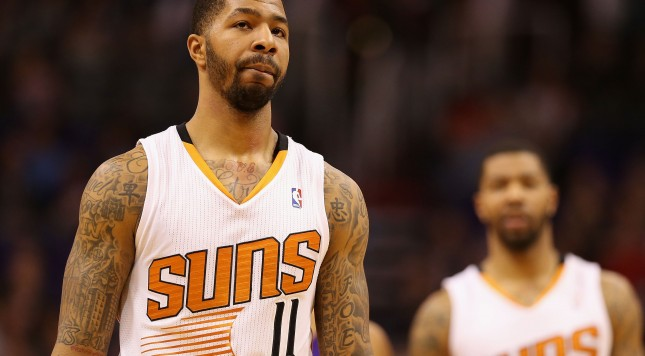 PHOENIX, AZ - JANUARY 15:  Markieff Morris #11 of the Phoenix Suns during the NBA game against the Los Angeles Lakers at US Airways Center on January 15, 2014 in Phoenix, Arizona.  The Suns defeated the Lakers 121-114. NOTE TO USER: User expressly acknowledges and agrees that, by downloading and or using this photograph, User is consenting to the terms and conditions of the Getty Images License Agreement.  (Photo by Christian Petersen/Getty Images)