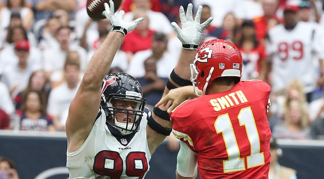 HOUSTON, TX - SEPTEMBER 13: J.J. Watt #99 of the Houston Texans rushes Alex Smith #11 of the Kansas City Chiefs in the second quarter in a NFL game on September 13, 2015 at NRG Stadium in Houston, Texas. (Photo by Scott Halleran/Getty Images)