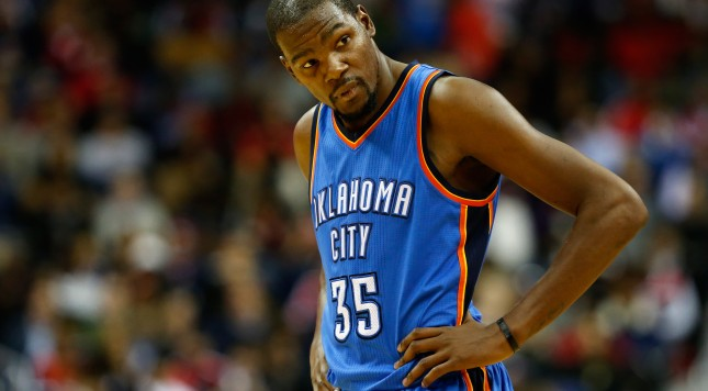 WASHINGTON, DC - NOVEMBER 10: Kevin Durant #35 of the Oklahoma City Thunder looks on against the Washington Wizards in the first half at Verizon Center on November 10, 2015 in Washington, DC. NOTE TO USER: User expressly acknowledges and agrees that, by downloading and or using this photograph, User is consenting to the terms and conditions of the Getty Images License Agreement  (Photo by Rob Carr/Getty Images)