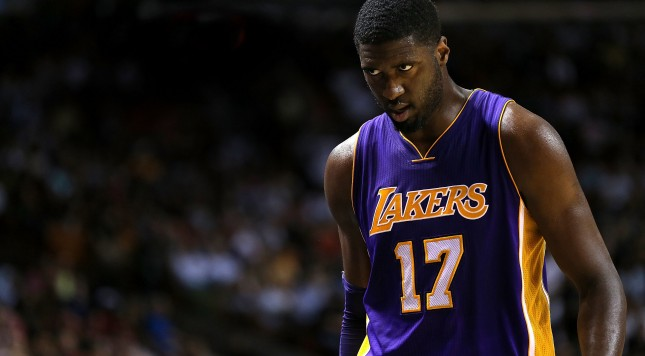 MIAMI, FL - NOVEMBER 10: Roy Hibbert #17 of the Los Angeles Lakers looks on during a game against the Miami Heat at American Airlines Arena on November 10, 2015 in Miami, Florida. NOTE TO USER: User expressly acknowledges and agrees that, by downloading and/or using this photograph, user is consenting to the terms and conditions of the Getty Images License Agreement. Mandatory copyright notice:  (Photo by Mike Ehrmann/Getty Images)