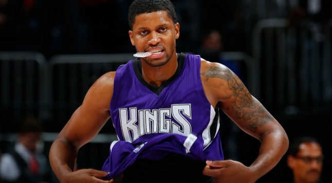 ATLANTA, GA - NOVEMBER 18:  Rudy Gay #8 of the Sacramento Kings reacts after their 103-97 loss to the Atlanta Hawks at Philips Arena on November 18, 2015 in Atlanta, Georgia.  NOTE TO USER User expressly acknowledges and agrees that, by downloading and or using this photograph, user is consenting to the terms and conditions of the Getty Images License Agreement.  (Photo by Kevin C. Cox/Getty Images)