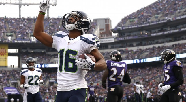 BALTIMORE, MD - DECEMBER 13: Wide receiver Tyler Lockett #16 of the Seattle Seahawks celebrates after scoring a first quarter touchdown against the Baltimore Ravens at M&T Bank Stadium on December 13, 2015 in Baltimore, Maryland. (Photo by Rob Carr/Getty Images)