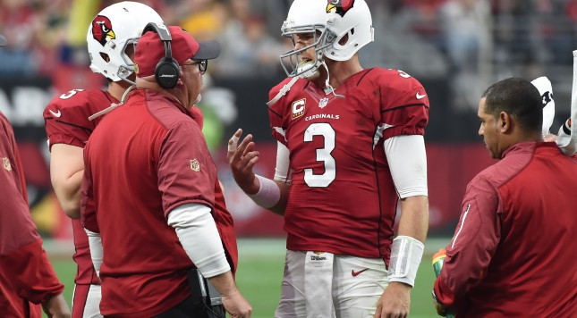GLENDALE, AZ - DECEMBER 27: Quarterback Carson Palmer #3 talks with head coach Bruce Arians of the Arizona Cardinals during the first half of the NFL game against the Green Bay Packers at University of Phoenix Stadium on December 27, 2015 in Glendale, Arizona.  (Photo by Norm Hall/Getty Images)