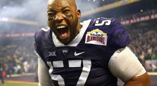 SAN ANTONIO, TX - JANUARY 02:  Davion Pierson #57 of the TCU Horned Frogs celebrates after winning the Valero Alamo Bowl in three overtimes against the Oregon Ducks at Alamodome on January 2, 2016 in San Antonio, Texas.  (Photo by Ronald Martinez/Getty Images)