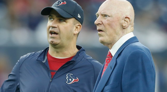 HOUSTON, TX - JANUARY 09: Head coach Bill O'Brien of the Houston Texans  talks with owner Bob McNair during the AFC Wild Card Playoff game against the Kansas City Chiefs at NRG Stadium on January 9, 2016 in Houston, Texas. Kansas City Chiefs won 30-0. (Photo by Bob Levey/Getty Images)