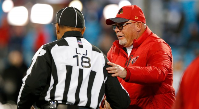 CHARLOTTE, NC - JANUARY 24:  Head coach Bruce Arians of the Arizona Cardinals greets an official prior to the NFC Championship Game between the Carolina Panthers and the Arizona Cardinals at Bank of America Stadium on January 24, 2016 in Charlotte, North Carolina.  (Photo by Kevin C. Cox/Getty Images)