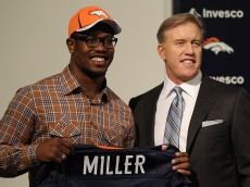 ENGLEWOOD, CO - APRIL 29:  Von Miller of the Denver Broncos is presented to the media for the first time with vice president of football operations John Elway at Dove Valley on April 29, 2011 in Englewood, Colorado. Miller, a projected outside linebacker in head coach John Fox's new 4-3 scheme, was selected second overall from Texas A&M. (Photo by Justin Edmonds/Getty Images)