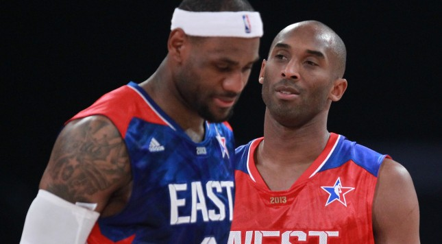 HOUSTON, TX - FEBRUARY 17:  LeBron James #6 of the Miami Heat and the Eastern Conference and Kobe Bryant #24 of the Los Angeles Lakers and the Western Conference on the court during the 2013 NBA All-Star game at the Toyota Center on February 17, 2013 in Houston, Texas. NOTE TO USER: User expressly acknowledges and agrees that, by downloading and or using this photograph, User is consenting to the terms and conditions of the Getty Images License Agreement.  (Photo by Ronald Martinez/Getty Images)