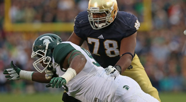 SOUTH BEND, IN - SEPTEMBER 21:  Damon Knox #93 of the Michigan State Spartans rushes against Ronnie Stanley #78 of the Notre Dame Fighting Irish at Notre Dame Stadium on September 21, 2013 in South Bend, Indiana. Notre Dame defeated Michigan State 17-13.  (Photo by Jonathan Daniel/Getty Images)