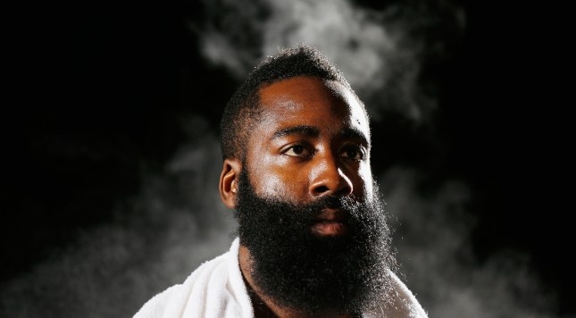 HOUSTON, TX - SEPTEMBER 29:  James Harden #13 of the Houston Rockets poses for a video shoot during the Rockets Media Day at the Toyota Center on September 29, 2014 in Houston, Texas.  (Photo by Scott Halleran/Getty Images)