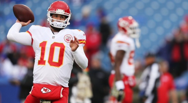 ORCHARD PARK, NY - NOVEMBER 09:   Chase Daniel #10 of the Kansas City Chiefs warms up before the first half against the Buffalo Bills at Ralph Wilson Stadium on November 9, 2014 in Orchard Park, New York.  (Photo by Brett Carlsen/Getty Images)