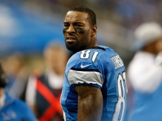 DETROIT, MI - DECEMBER 22: Calvin Johnson #81 of the Detroit Lions watches the action from the sidelines during the second quarter of thre game against the New York Giants at Ford Field on December 22, 2013 in Detroit, Michigan.  (Photo by Leon Halip/Getty Images)