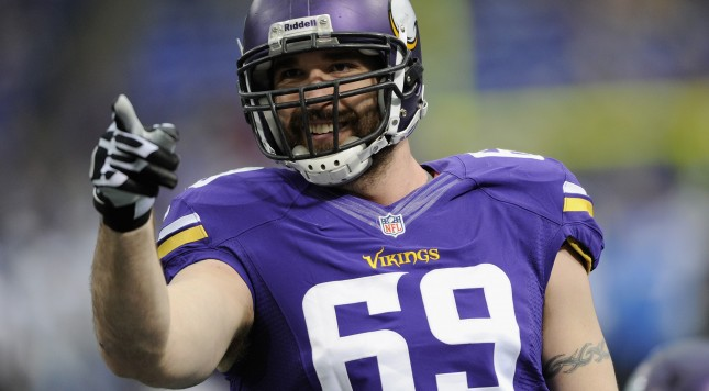 MINNEAPOLIS, MN - DECEMBER 29: Jared Allen #69 of the Minnesota Vikings looks on before the game against the Detroit Lions on December 29, 2013 at Mall of America Field at the Hubert H. Humphrey Metrodome in Minneapolis, Minnesota. (Photo by Hannah Foslien/Getty Images)