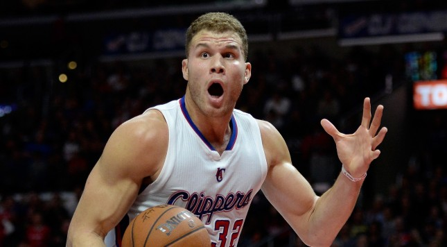 LOS ANGELES, CA - DECEMBER 29:  Blake Griffin #32 of the Los Angeles Clippers reacts to his foul during a 101-97 Clipper win over the Utah Jazz at Staples Center on December 29, 2014 in Los Angeles, California.   NOTE TO USER: User expressly acknowledges and agrees that, by downloading and or using this Photograph, user is consenting to the terms and condition of the Getty Images License Agreement.  (Photo by Harry How/Getty Images)