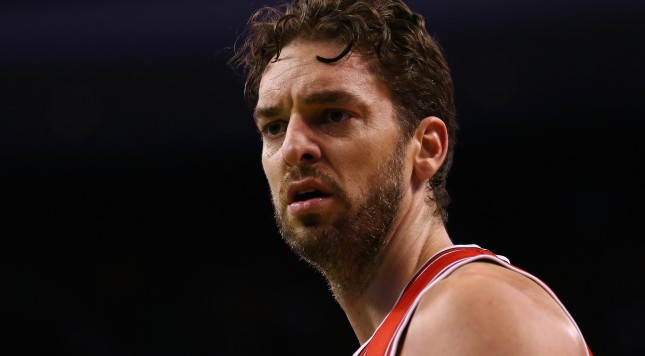 BOSTON, MA - JANUARY 16:  Pau Gasol #16 of the Chicago Bulls looks on during the first half of the game against the Boston Celtics at TD Garden on January 16, 2015 in Boston, Massachusetts. NOTE TO USER: User expressly acknowledges and agrees that, by downloading and or using this photograph, User is consenting to the terms and conditions of the Getty Images License Agreement.  (Photo by Maddie Meyer/Getty Images)