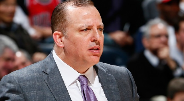 ATLANTA, GA - DECEMBER 15:  Tom Thibodeau of the Chicago Bulls against the Atlanta Hawks at Philips Arena on December 15, 2014 in Atlanta, Georgia.  NOTE TO USER: User expressly acknowledges and agrees that, by downloading and or using this photograph, User is consenting to the terms and conditions of the Getty Images License Agreement.  (Photo by Kevin C. Cox/Getty Images)