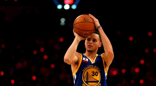 NEW YORK, NY - FEBRUARY 14:  Stephen Curry #30 of the Golden State Warriors and of the Western Conference competes during the Foot Locker Three-Point Contest as part of the 2015 NBA Allstar Weekend at Barclays Center on February 14, 2015 in the Brooklyn borough of New York City. NOTE TO USER: User expressly acknowledges and agrees that, by downloading and or using this photograph, User is consenting to the terms and conditions of the Getty Images License Agreement.  (Photo by Elsa/Getty Images)