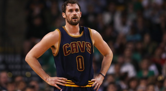 BOSTON, MA - APRIL 23:  Kevin Love #0 of the Cleveland Cavaliers looks on during the first quarter against the Boston Celtics in the first round of the 2015 NBA Playoffs at TD Garden on April 23, 2015 in Boston, Massachusetts. NOTE TO USER: User expressly acknowledges and agrees that, by downloading and/or using this photograph, user is consenting to the terms and conditions of the Getty Images License Agreement.  (Photo by Maddie Meyer/Getty Images)