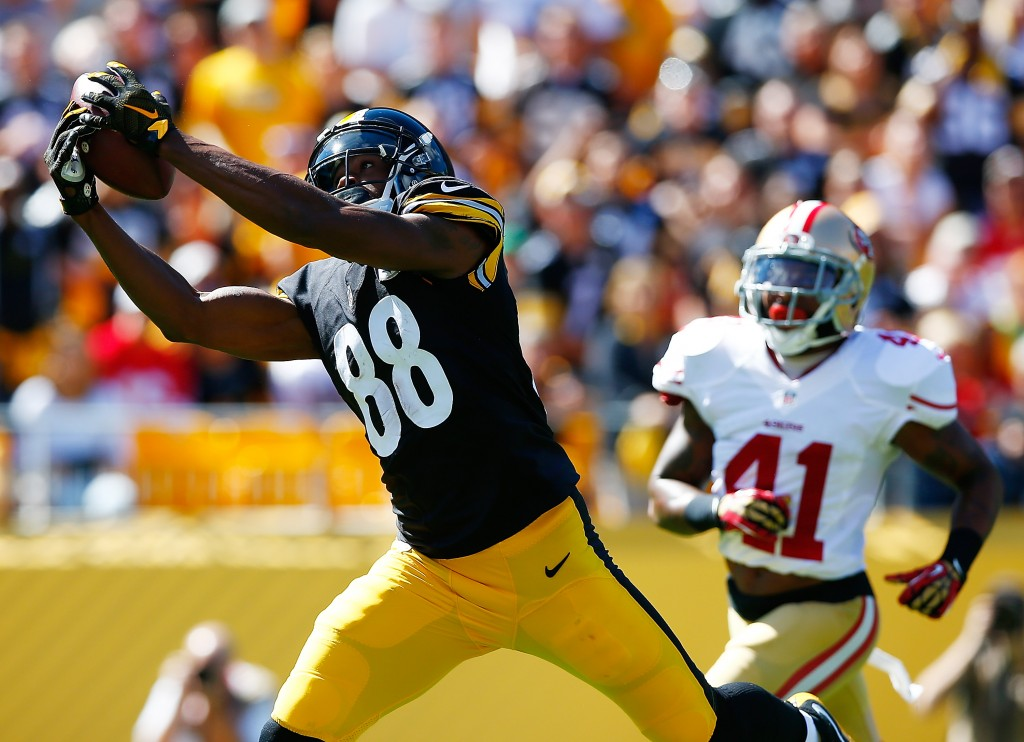 PITTSBURGH, PA - SEPTEMBER 20: Darrius Heyward-Bey #88 of the Pittsburgh Steelers catches a touchdown pass in the second quarter in front of Antoine Bethea #41 of the San Francisco 49ers during the game at Heinz Field on September 20, 2015 in Pittsburgh, Pennsylvania.  (Photo by Jared Wickerham/Getty Images)